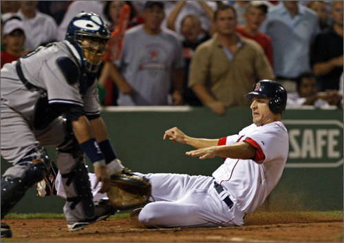Rocco Baldelli slides into home off of a second inning RBI single by Red Sox catcher Jason Varitek. Baldelli's run would tie the game, but the Yankees added two runs on three hits in the next inning.