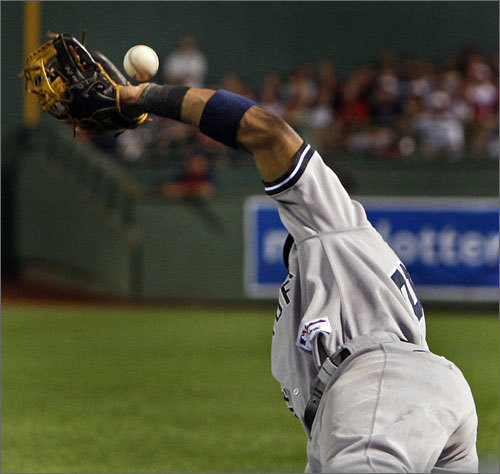 The Red Sox scored their third run off of this error by Robinson Cano, who misplayed a fourth-inning flare hit by Jason Varitek. Cano tried calling off first baseman Mark Teixeira while making the catch, but couldn't find the ball in time, allowing Bay to score from first with two outs.