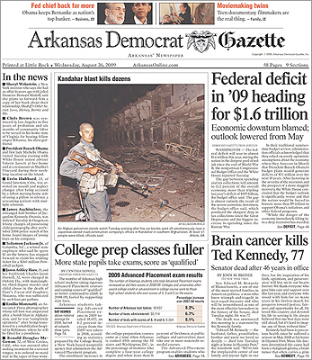 The Arkansas Democrat-Gazette placed the story on the bottom fold of its front page without a photo.
