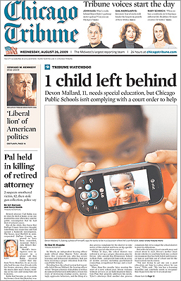 The Chicago Tribune included the story in a sidebar on its front page.