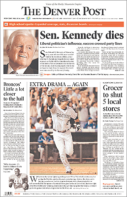 The Denver Post gave prominence to Kennedy's death, making his obituary their top story.