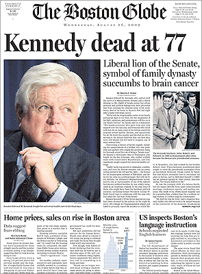 Ted Kennedy died late Tuesday night at age 77. On the East Coast and in countries across the Atlantic, many newspapers had finished printing their Wednesday editions before they could include the Massachusetts Senator's death. But some papers did manage to feature the late breaking news on their front pages.