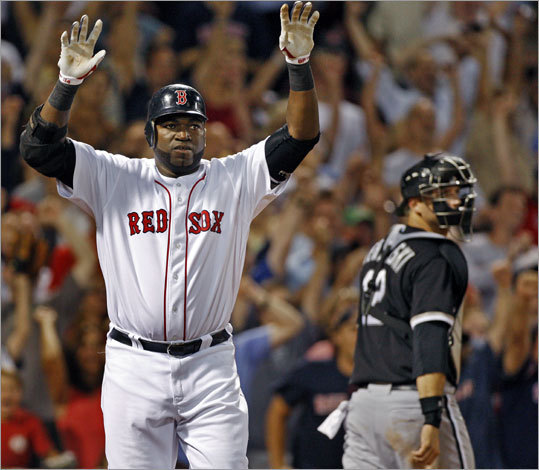 August 26, 2009 Red Sox 3, White Sox 2 Ortiz curled his second homer of the game around the Pesky Pole to break a ninth-inning tie and give the Red Sox a victory. It was Ortiz's franchise-record ninth regular season walkoff homer with the Red Sox. Hall of Famer Jimmie Foxx had eight.