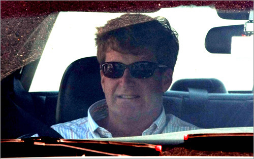 Kennedy's son, Representative Patrick Kennedy of Rhode Island, left the Kennedy compound at Hyannis Port.