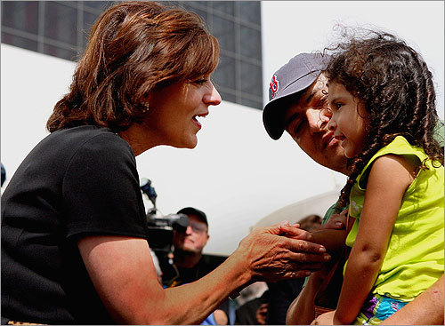 Victoria Reggie Kennedy greeted a young well-wisher.