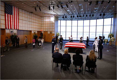 Wake attendees filed past Kennedy's casket.