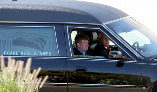 Patrick Kennedy arriving in the hearse at John F. Kennedy Library and Museum