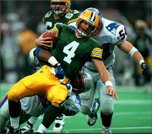 In Bruschi's rookie year the Patriots played in Super Bowl XXXI. The team lost to Green Bay, but Bruschi's two sacks in the game set a team Super Bowl record and was just one shy of the all-time Super Bowl record.