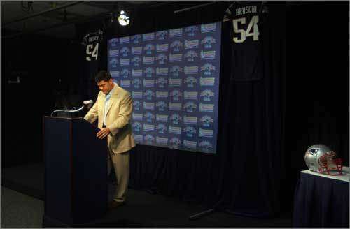 Patriots' great Tedy Bruschi spoke announced his retirement this morning at a press conference in Gillette Stadium. Patriots' owner Robert Kraft and head coach Bill Belichick also spoke. Both praised Bruschi as what they thought a player should be.