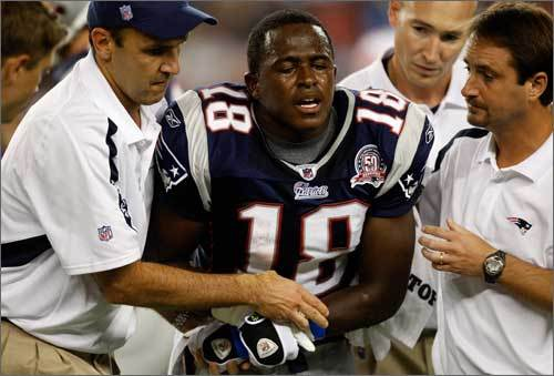 Second-year safety and special-teamer Matthew Slater, who is on the roster bubble, left the game in the second quarter when he injured his left arm following a 20-yard kickoff return. Slater, who drew the start and stopped Giants running back Ahmad Bradshaw for a 2-yard loss, was trying to stretch his return to the outside when he was tripped, lost his balance, and landed awkwardly. He grasped his forearm in pain and was helped off the field and taken to the locker room.