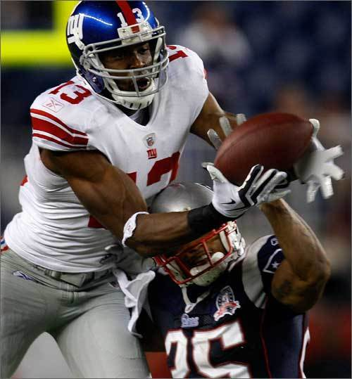 The Patriots defense may have let up 21 points in the first quarter, but allowed just six the rest of the way, including only a field goal in the second half. Here, Patrick Chung breaks up a pass intended for Giants receiver Ramses Barden in the fourth quarter.