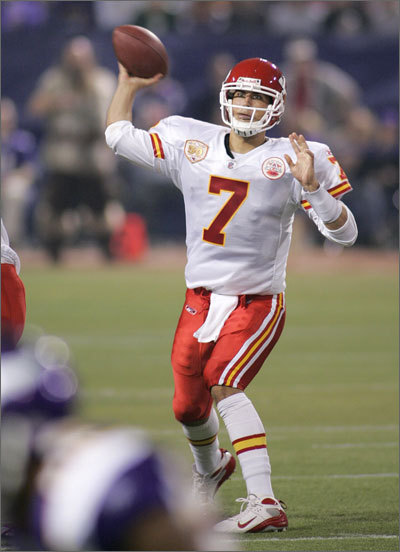 Matt Cassel Cassel filled in capably at quarterback after Tom Brady went down with an injury at the start of the 2008 season, and his reward was a trade to Kansas City, where he received a $63 million contract. In 2009, Cassel passed for 2,924 yards and had 16 touchdown passes and 16 interceptions. Cassel led the Chiefs to a division title in 2010, passing for over 3,000 yards to go with 27 TD passes and 7 interceptions. He missed time in 2011, passing for 1,713 yards, 10 touchdowns and nine interceptions.