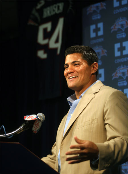 Tedy Bruschi Bruschi, a fan-favorite and a player coach Bill Belichick proclaimed was a 'perfect player,' retired in Aug. 2009. Bruschi played 13 seasons with the Patriots, was part of three Super Bowl winning teams, and has been with ESPN as an NFL analyst since Sept. 2009.