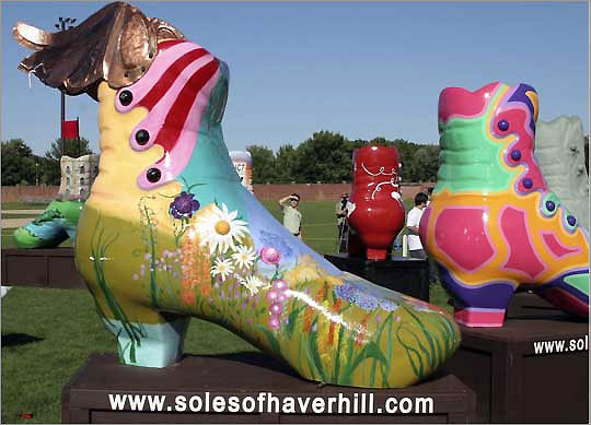 "Haverhill, Oct. 24 Now through October, 10 five-foot-tall fiberglass shoes, decorated by various artists to commemorate the city's shoe-making heritage, are on display in prominent locations around downtown Haverhill. The Soles of Haverhill ""Shoe-la-bration"" is a first-time community art celebration, and these whimsical art pieces will be auctioned off at a gala event at the Buttonwoods Museum on Oct. 24 with proceeds to support local nonprofit organizations. Visit www.solesofhaverhill.com for more information."