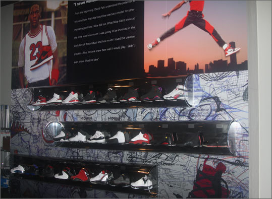 The Michael Jordan exhibit includes a list of his many honors in addition to his many Air Jordans.