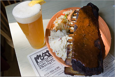 "Moat Mountain Smokehouse & Brewing Co. Beer and barbecue are natural partners, so it's no surprise that co-owner Steve Johnson acknowledges that ""barbecue was always key to our concept'' since his ski-country brew pub opened nine years ago. The menu has grown to embrace a number of un-Southern items (a line of wood-grilled pizzas, for example), but St. Louis ribs and pulled pork remain staples. Johnson's favorite is the Texas-style brisket smoked for 14 hours with cottonwood and served with a spicy Austin sauce that gets its kick from mustard and horseradish. The barbecue is all dry-rubbed before cooking, but Moat Mountain serves it all ""wet,'' i.e., chopped and mixed with sauce. 3378 White Mountain Highway (Route 16), North Conway, N.H. 603-356-6381, www.moatmountain.com . Open daily for lunch and dinner. $8.99-$21.99."