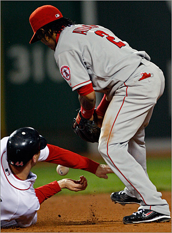 Bay was safe at second when Angels shortstop Erick Aybar couldn't hold onto the throw.