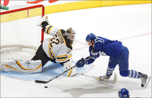Bruins goalie Dany Sabourin makes a save on a Tyler Bozak breakaway. Sabourin made 25 saves on 27 shots in a solid performance and Boston skated off with a 3-2 triumph. Stroll through our gallery for more scenes from Wednesday's game.