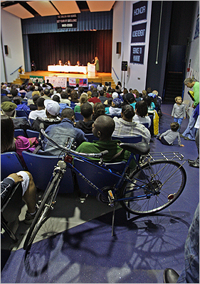 A crowd watched during the Boston mayoral forum at English High School in Jamaica Plain on Thursday, Sept. 17.