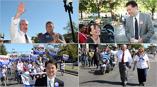 On the last weekend day of campaigning before tomorrow's preliminary election, Mayor Thomas M. Menino his three challengers met in the afternoon for the Annual Allston-Brighton Parade.