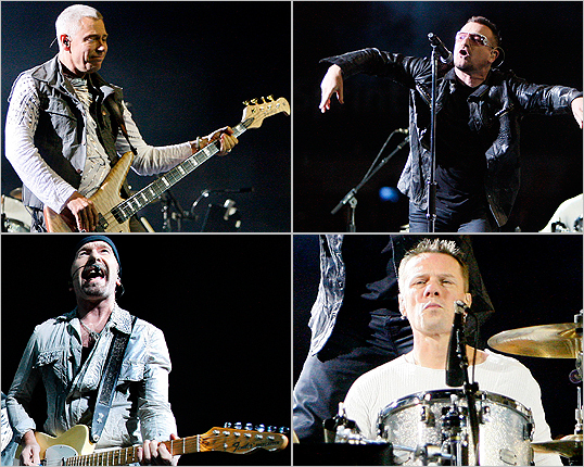 U2 stopped in Foxborough on their 360 degree tour to perform at Gillette Stadium last night. The iconic Irish band played an array of its classic arena anthems along with its more recent songs. They play Gillette again tonight. Take a look at photos from last night's concert.