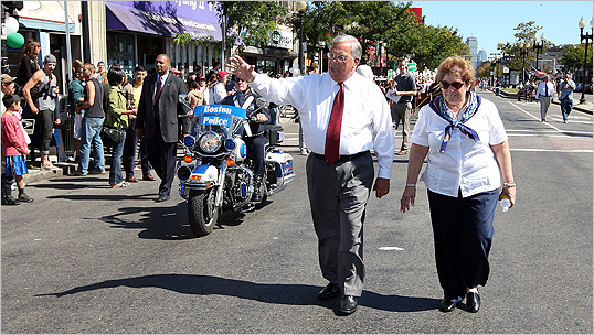Menino and his wife, Angela Menino, walked at the start of the Allston-Brighton Parade. Candidates Michael Flaherty and Sam Yoon also walked in the parade, and Menino's third challenger, Kevin McCrea, made a late appearance at the park near the Oak Square Y.