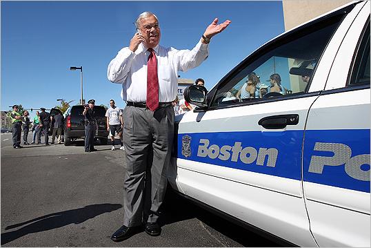 Mayor Menino made a call before the 6th Annual Brian Honan 5K Run/Walk, which precedes the Allston Brighton Parade.