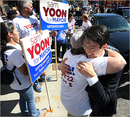 Yoon was greeted by Anne Rousseau, of Jamaica Plain, before the start of the parade.