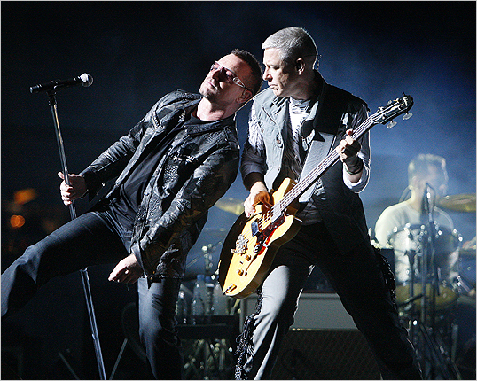 Bono leaned into Clayton. The chemistry of the band grew intense at several moments throughout the night.