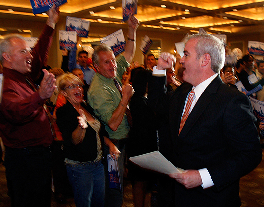Boston City Councilor and mayoral candidate Michael Flaherty entered his election night party after placing second in the preliminary mayoral election.