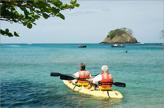 Passengers can go out to a nearby beach to snorkel, kayak, and swim.