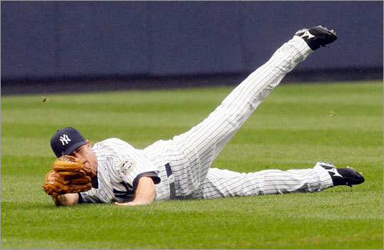 (continued) Brett Gardner came down with the ball off Jacoby Ellsbury's bat and recorded the out.