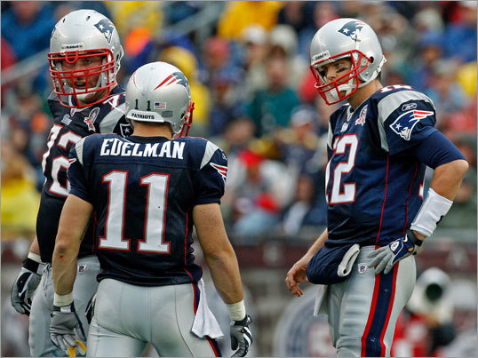 The Patriots were playing without Wes Welker for the second straight week, and Welker's replacement, Julian Edelman, got a stare from Tom Brady after dropping a pass that was right in his hands in the first half.