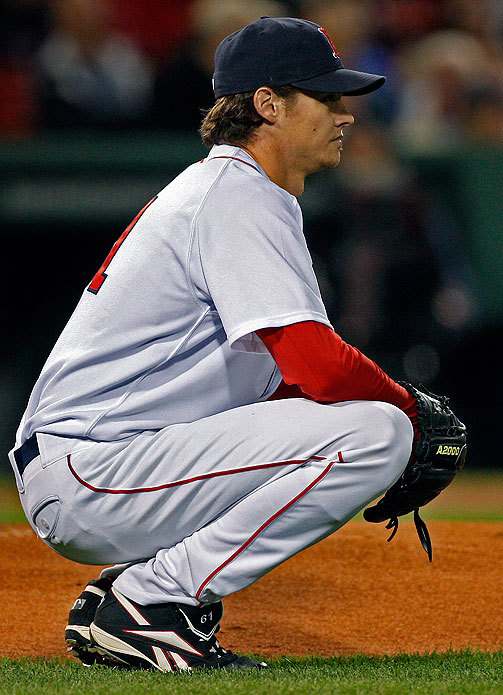 Buchholz paused after Lind hit a home run off him.