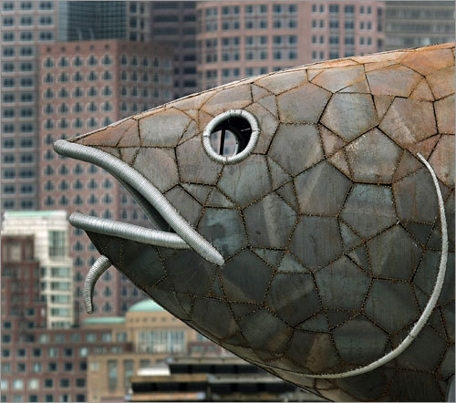The Fish also comes equipped with 2,000 LED lights and a 100-watt solar panel, to illuminate it at night.