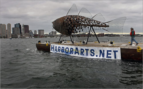 Visitors to Boston's waterfront may have caught a strange sight today: A 40-foot, two-ton fish sculpture being transported across the harbor.