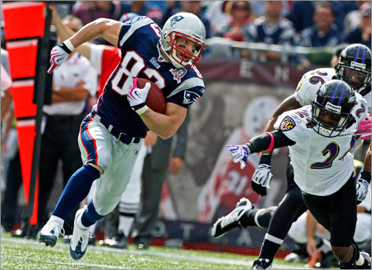 Patriots wide receiver Wes Welker was active Sunday and looked for extra yardage on this play as he picked up fifteen yards.