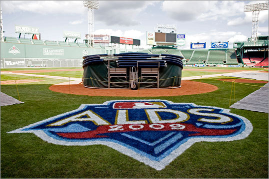 They won't play there until Game 3, but the area behind home plate at Fenway Park was painted in preparation for the ALDS.