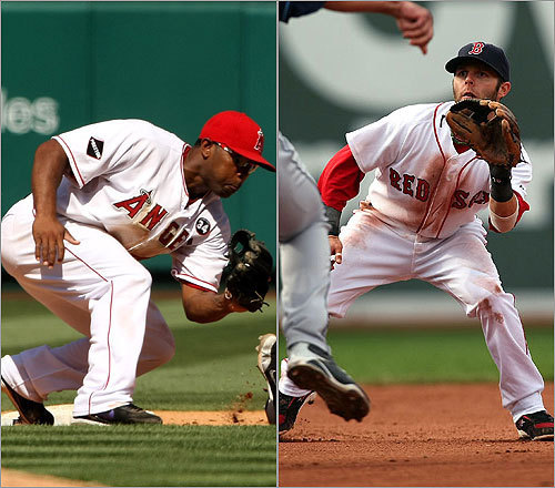 Second basemen Howie Kendrick vs. Dustin Pedroia Kendrick, the Angels' 26-year-old second baseman, finished the season with a .291 batting average, with 10 home runs, 61 RBI, and a .778 OPS. Pedroia, the 2008 American League MVP, hit .296 this season, with 15 homers, 72 RBI, and an .819 OPS. <!-- // define variables var date = new Date(); var current_time = date.getTime(); // write SCRIPT tag to browser document.writeln(' '); // -->