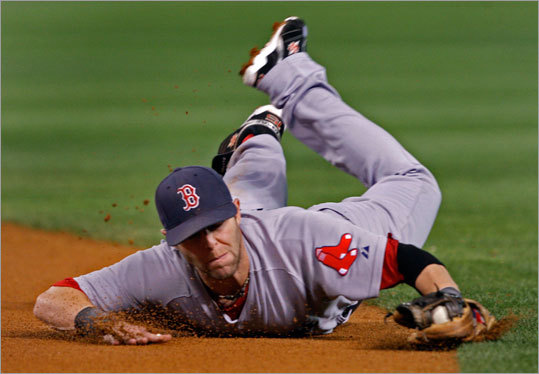 Second baseman Dustin Pedroia made a diving stop in the first ininng, then got up and threw out Bobby Abreu at first.