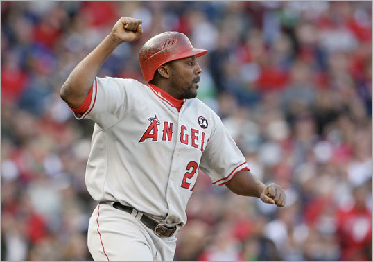 After intentionally walking Torii Hunter (not pictured), Jonathan Papelbon gave up a two-run double to Vladimir Guerrero that gave the Angels the lead.