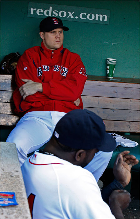 Papelbon sat in the dugout after giving up the lead to Los Angeles.