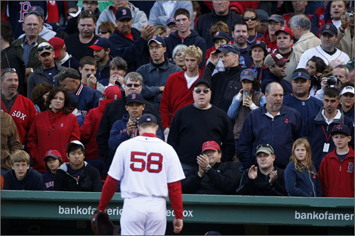 October 2009: Sox swept by Angels in ALDS Jonathan Papelbon hung his head as he walked off the field to a stunned and silenced Fenway crowd. Papelbon was removed from Game 3 after giving up the go-ahead runs, the first of his postseason career, as the Angels swept the Red Sox three games to none.