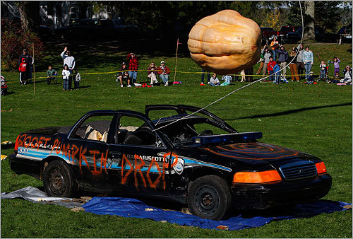 For many, the highlight of the event was the dropping of a 650-pound pumpkin 200 feet onto an old police cruiser. Here's the giant pumpkin, just a split second before impact.