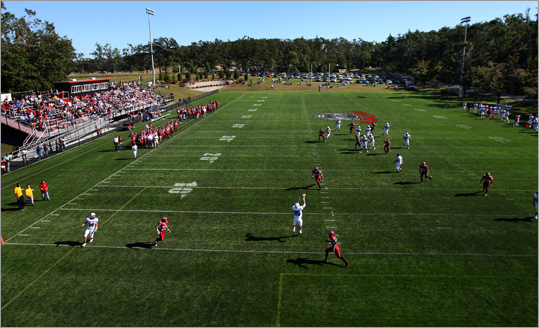 Malone University's Ryan Murphy caught a 19-yard touchdown pass to put Anna Maria down 49-3.