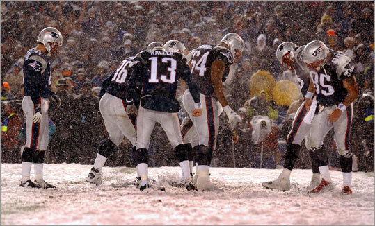 Jan. 19, 2002: Patriots 16, Raiders 13 In the game dubbed the Snow Bowl, players cleared a place for Adam Vinatieri to kick the game-winning field goal in overtime. The game is also known as the tuck rule game because of the controversial replay decision that gave the Patriots the ball back after Tom Brady lost control of it after being hit by Raiders cornerback Charles Woodson. It was ruled a fumble on the field. In a driving snowstorm, the Patriots rallied to tie after maintaining possession on the reversal, then won in OT.