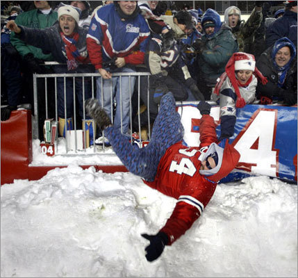 "Dec. 7, 2003: Patriots 12, Dolphins 0 Fans were tumbling out of the stands and into the snowbanks alongside the field during this one, which was played at the end of a two-day snowstorm and was the first of three snow games the Patriots would play during the 2003 season. The Patriots defense shut down the Dolphins to lead New England as it clinched the AFC East title, and fans celebrated by tossing snow in the air caught the attention of the players. ""I give everybody credit and I am happy that we have the fans that we have,"" linebacker Mike Vrabel said. ""I know it was tough getting here. Guys had a tough time getting here. The way that they timed up the cheer, whoever came up with that, they did a great job and it was well executed."""