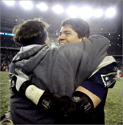 Jan. 16, 2005: Patriots 20, Colts 3 Coach Bill Belichick wore only his signature hoodie to protect against the elements during a playoff victory over the Colts after the 2004 season that started their march to the Super Bowl. Linebacker Tedy Bruschi led a defense that limited the Colts to just 46 yards on the ground. Adam Vinatieri kicked two field goals, and Tom Brady ran for one touchdown and passed for another. The Patriots led 6-3 at halftime. Corey Dillon had 144 yards rushing.