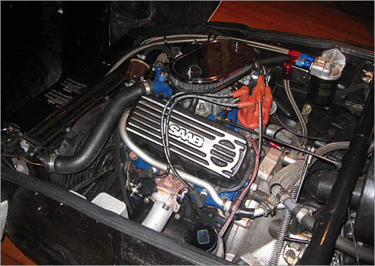 The Sonett's V-4 engine, a highly unusual layout, makes about 120 horsepower and healthy acceleration in a car weighing just over 2,000 pounds.