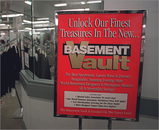 In 1996, the Filene's Basement store at Downtown Crossing opened a new section of the store call 'The Vault,' which carried higher-end brands.